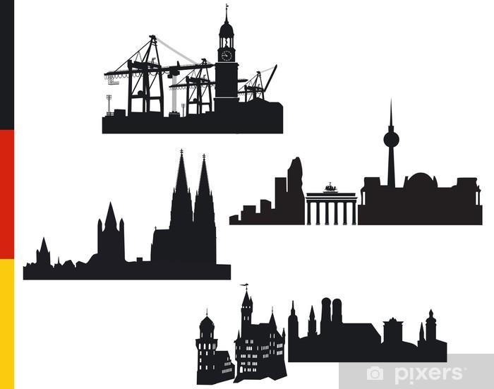 Vinyl-Fototapete 4 Deutsche Städte, Hamburg, Berlin, Köln, München - Urlaub