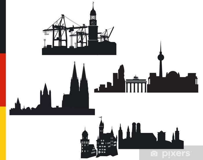 Naklejka Pixerstick 4 niemieckie miasta, Hamburg, Berlin, Kolonia, Monachium - Wakacje