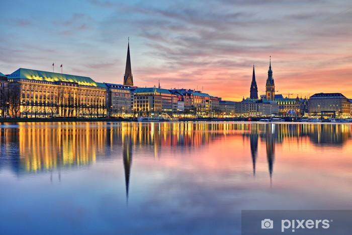 Papier peint vinyle Hambourg dans la lumière du soir - Thèmes