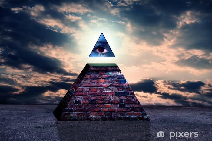 Carta da Parati in Vinile Nuovo ordine mondiale piramide degli Illuminati - Stili