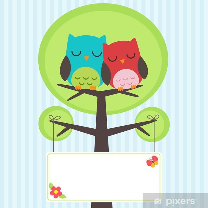 Sticker Pixerstick Couple de hiboux - Oiseaux