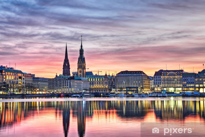 Papier peint vinyle Hambourg la nuit - Europe