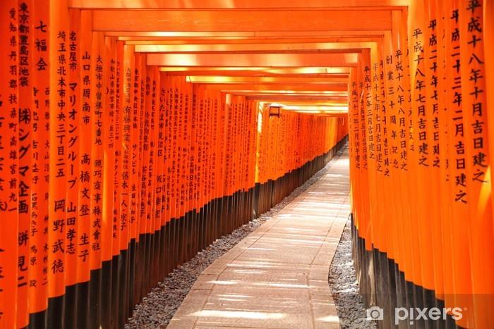 Fototapet av Vinyl Torii gate tunnel i Kyoto, Japan - Teman