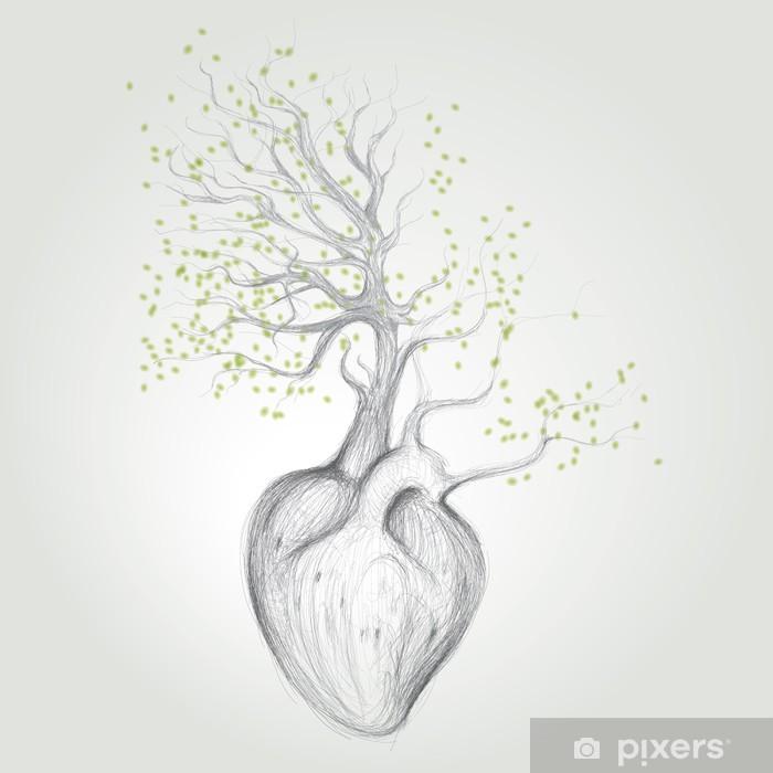 Fototapeta winylowa Drzewo z korzeniami jak serca / wektor szkic surrealistyczne - Tematy