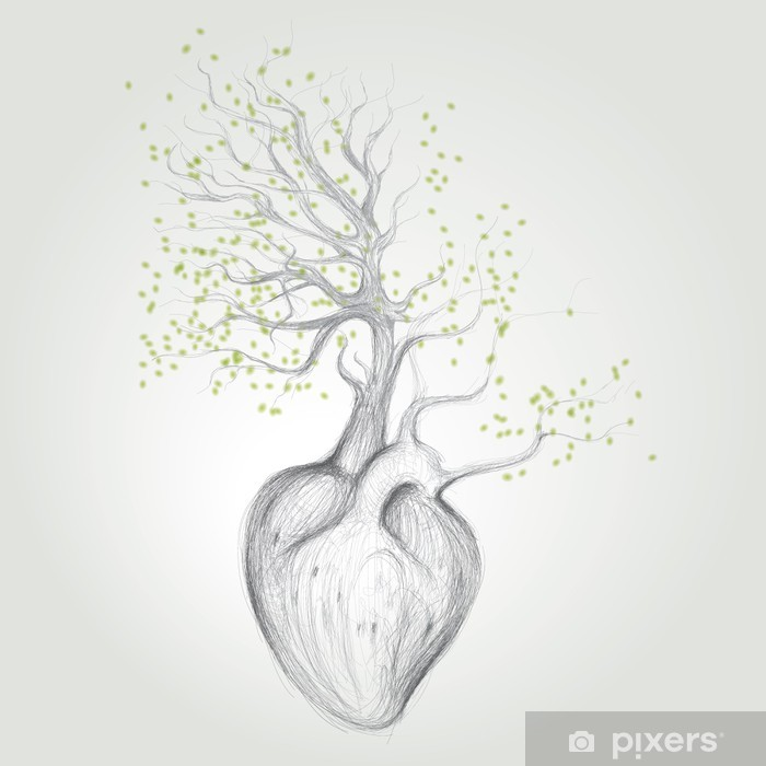 Tree with roots like heart / Surreal vector sketch Vinyl Wall Mural - Themes