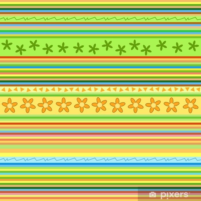 Naklejka Pixerstick Paski wzór - kwiatowy bezszwowe tło wektor - Tła