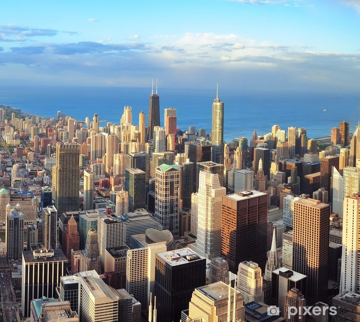 Chicago skyline at sunset Poster - Themes