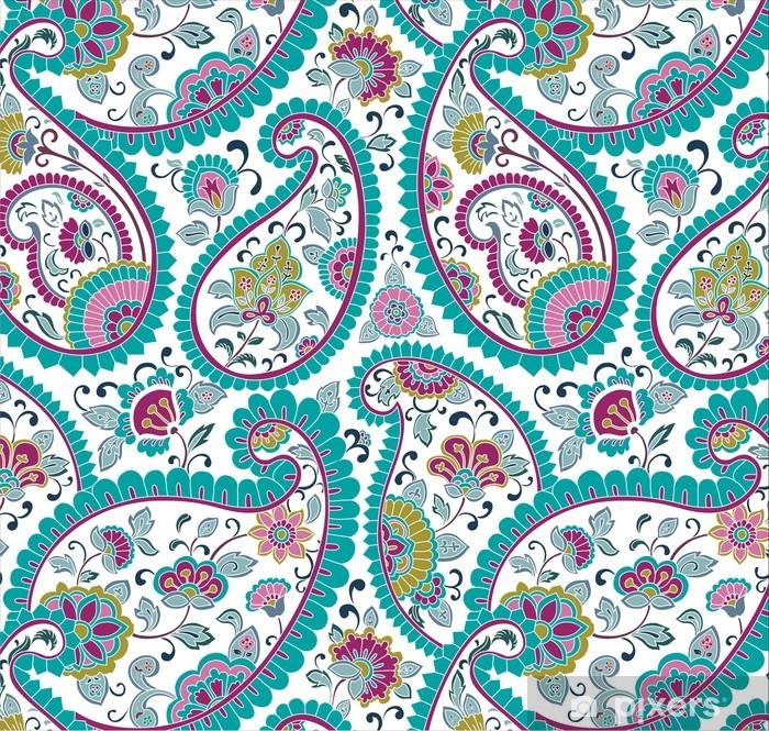 Papier Peint Autocollant Coloré motif paisley floral, textile, Rajasthan, Inde - Styles