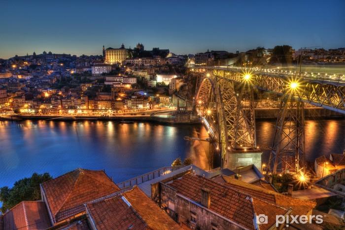 Porto at Night, Portugal. Pixerstick Sticker - Europe