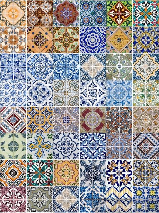 Fototapeta winylowa Ustaw z 48 wzorów płytek ceramicznych - Tekstury