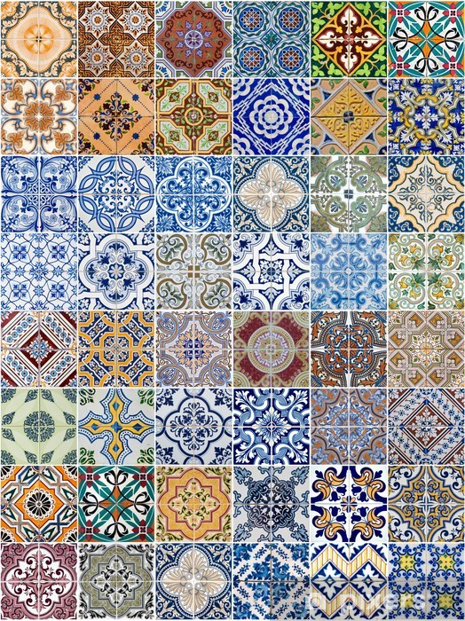 Naklejka Pixerstick Ustaw z 48 wzorów płytek ceramicznych - Tekstury