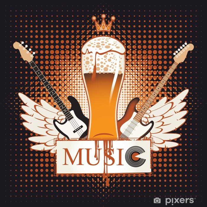 Sticker Pixerstick Bannière de la pub avec musique live - Alcool