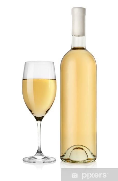 Papier peint vinyle Bouteille de vin et verre de vin blanc - Alcool