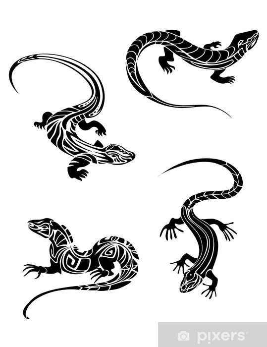 Fast lizards in tribal style Vinyl Wall Mural - Other Other