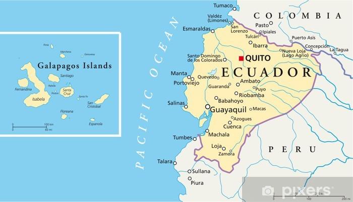 Fotomural Estándar Ecuador y las Islas Galápagos - Mapa - Temas