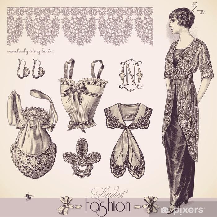 a6d0f312184a9c Fototapeta Vintage Fashion Ladies i akcesoria • Pixers® - Żyjemy by ...