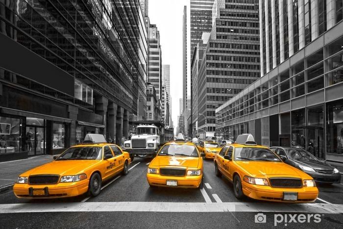 Naklejka Pixerstick Tyellow taksówki w Nowym Jorku, USA. -