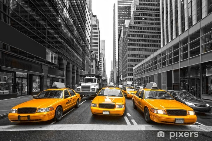 TYellow taxis in New York City, USA. Vinyl Wall Mural -