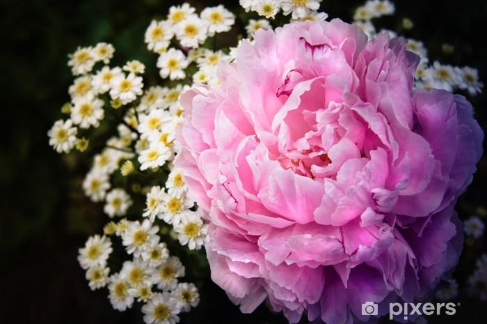 Naklejka Pixerstick Różowa piwonia i chryzantema kwiaty - Pory roku
