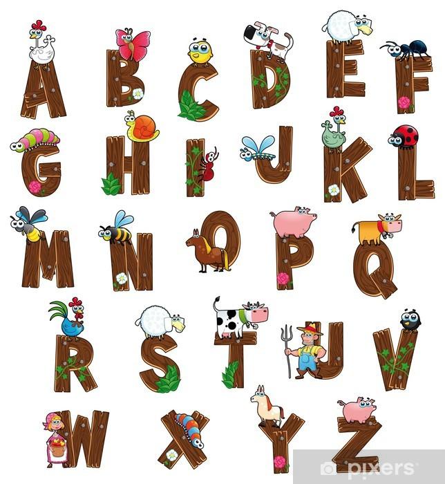 Papier Peint Alphabet Avec Des Personnages De La Ferme Lettres
