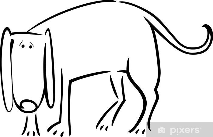 Perrito Triste Para Colorear Negro Y Dibujos Animados De Blanco