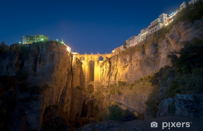 Fotomural Estándar Nuevo Puente en la noche, Ronda, España - Temas