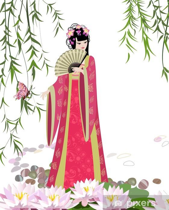 Fototapeta winylowa Chiński krajobraz z dziewczyną - Kobiety