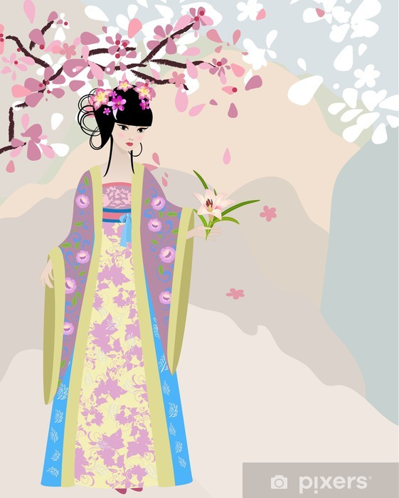 cherry blossom and a girl in national costume Vinyl Wall Mural - Themes