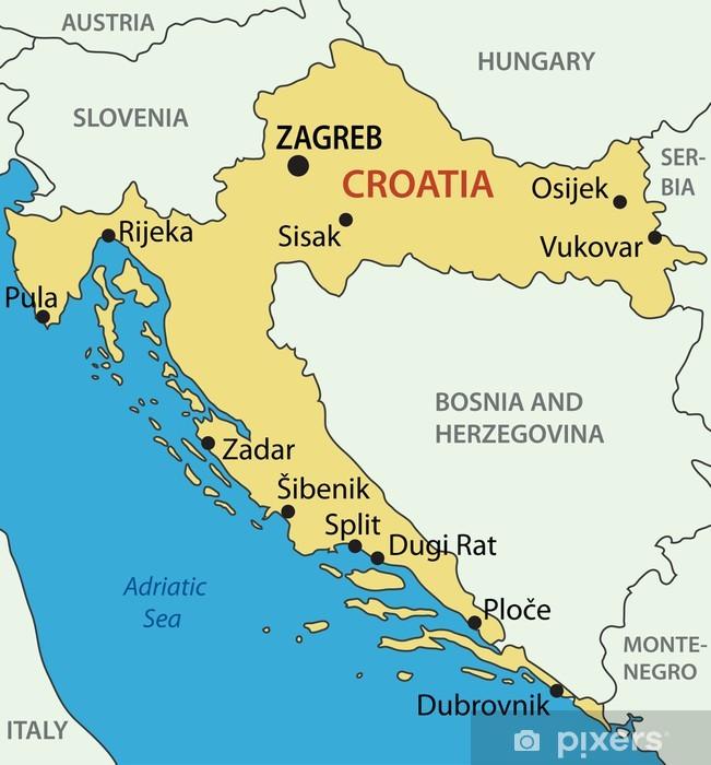 Republikken Kroatien Vektor Kort Bord Og Skrivbordfiner Pixers