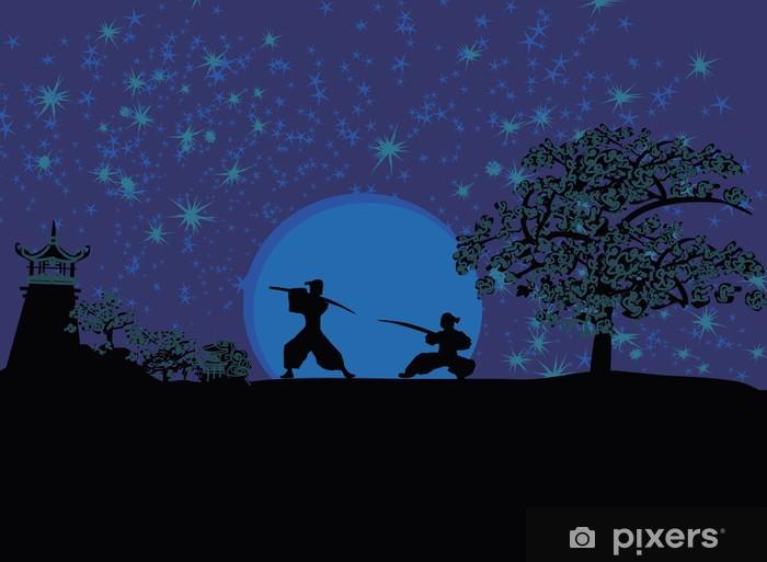 Vinylová fototapeta Samurai Silhouette - Vinylová fototapeta