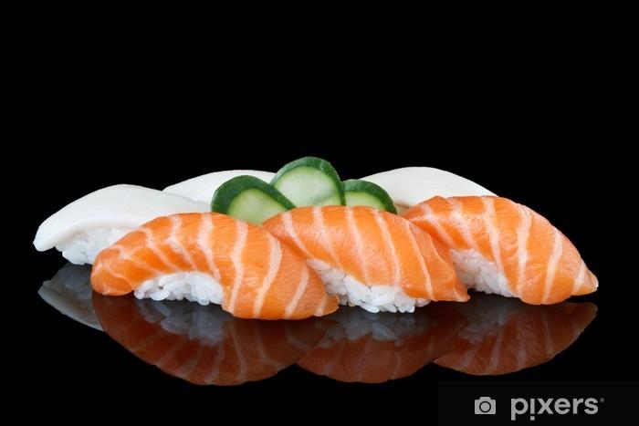 Papier peint vinyle Sushi sur fond noir - Sushi