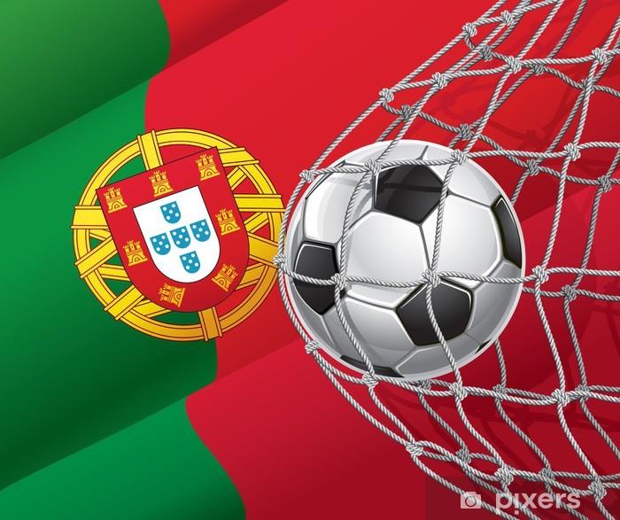 Fototapet Soccer Goal. Portugals flagga med en fotboll i ett nät ... 76a70caf22646