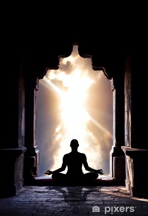 Vinilo Pixerstick Yoga meditación en el templo - Salud