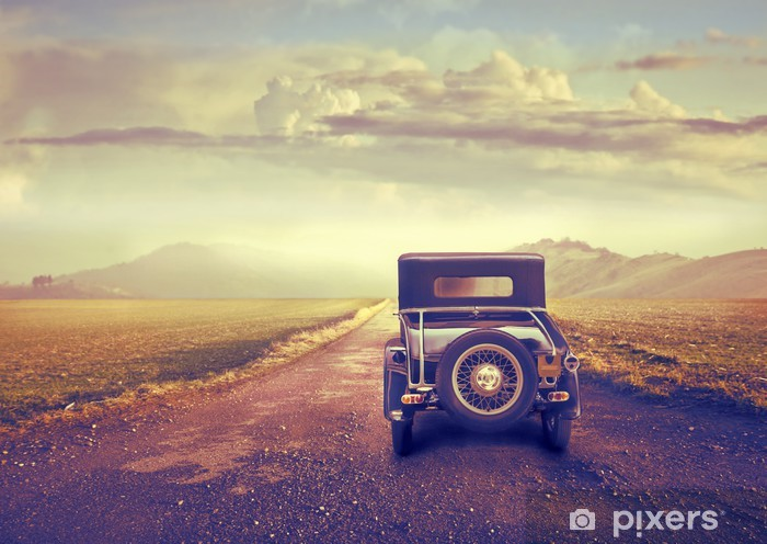 Zelfklevend Fotobehang Reis in een vintage auto - Landbouw