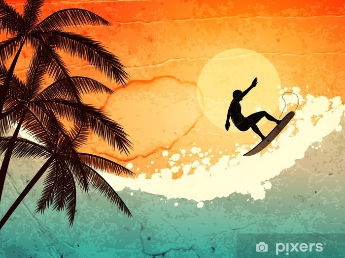 Naklejka Pixerstick Surfer, palmy i morze - Wakacje