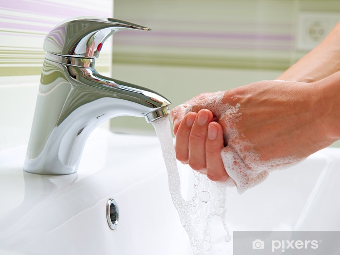 Fototapeta winylowa Mycia rąk. Mycia rąk. Higiena - Części ciała