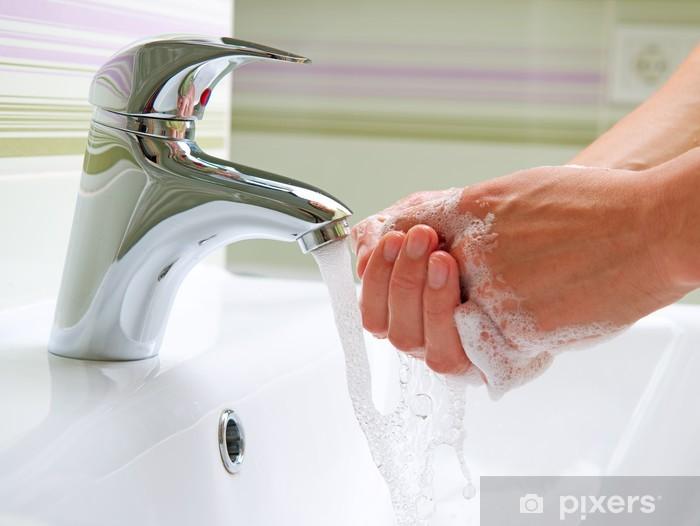 Sticker Pixerstick Se laver les mains. Nettoyage des mains. Hygiène - Parties du corps