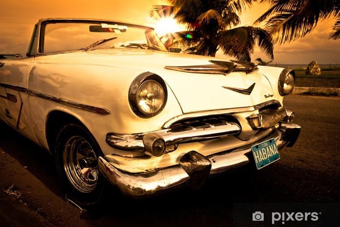 Naklejka Pixerstick Stary amerykański samochód, Kuba -