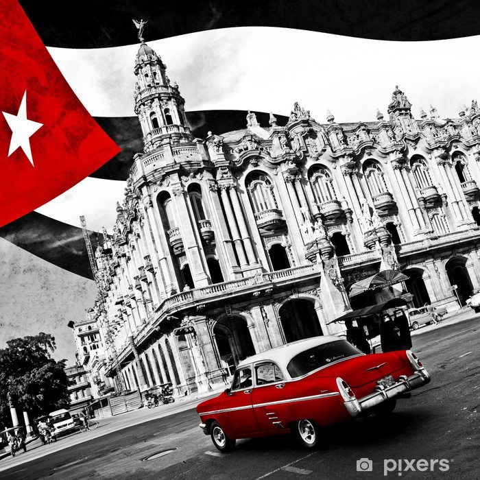 Sticker Pixerstick Cuba (n & b) -