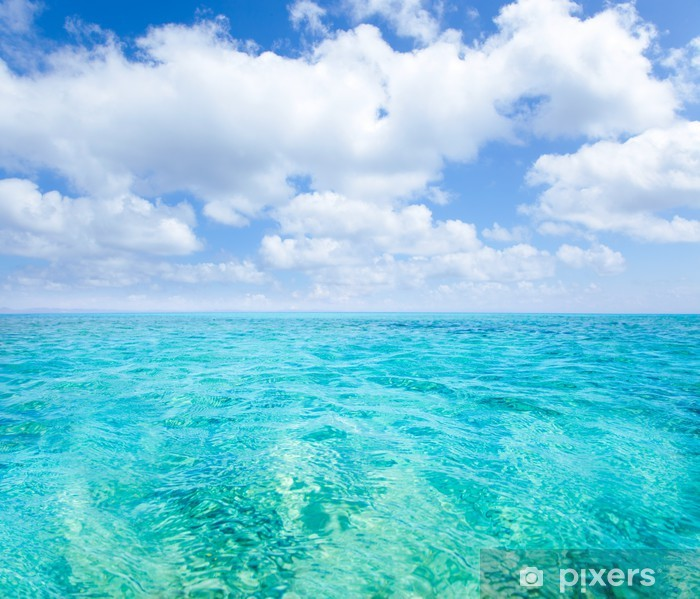 Belearic islands turquoise sea under blue sky Framed Poster - Themes