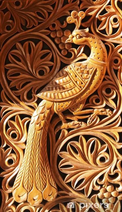 Sticker Pixerstick Phénix, sculpture sur bois - Animaux imaginaires