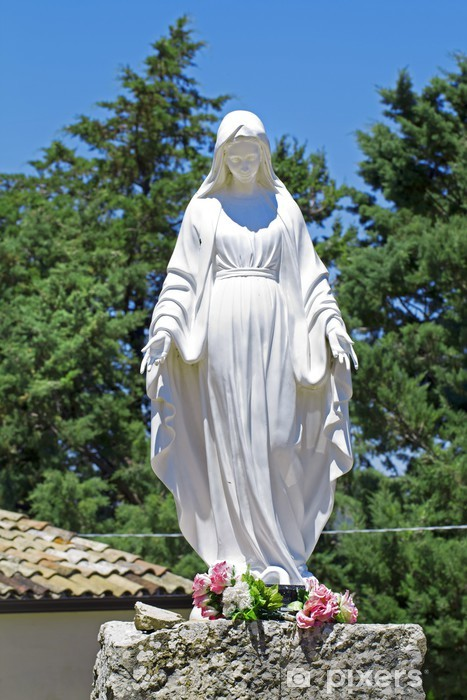 Statue of Virgin Mary Pixerstick Sticker - Religion