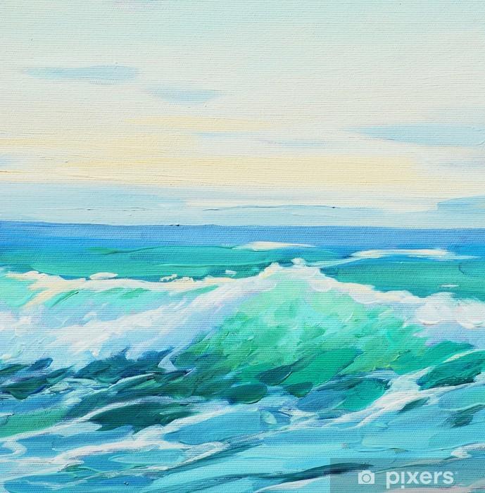 Vinilo Pixerstick De la mañana en el mar mediterráneo, onda, ilustración, pintura o por - Artes y creación