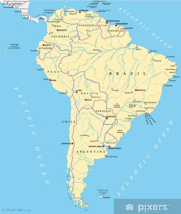 Etela Amerikka Kartta Sudamerika Landkarte Pixerstick Tarra