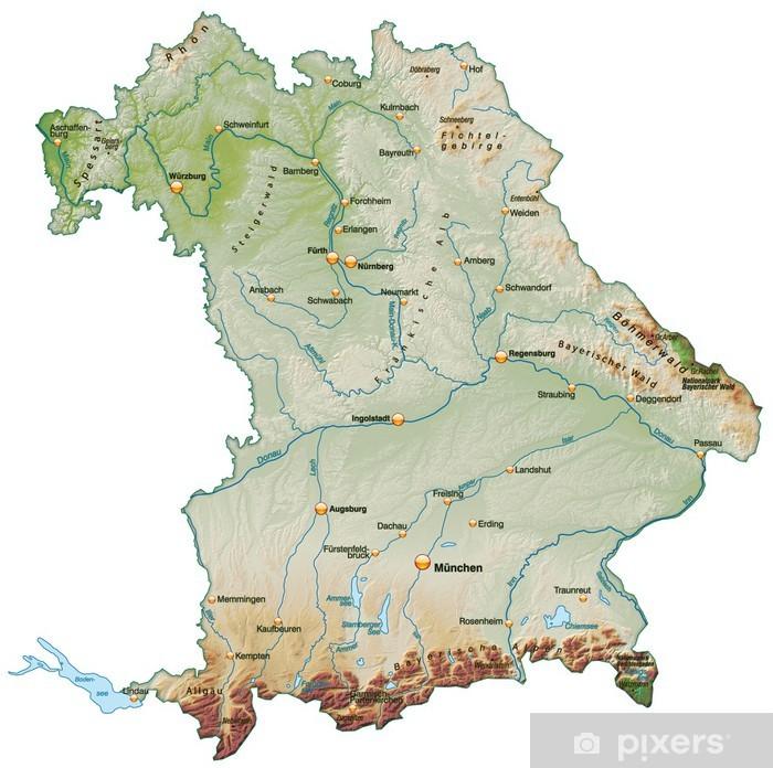 Landkarte Von Bayern Mit Schummerung Wall Mural Pixers We