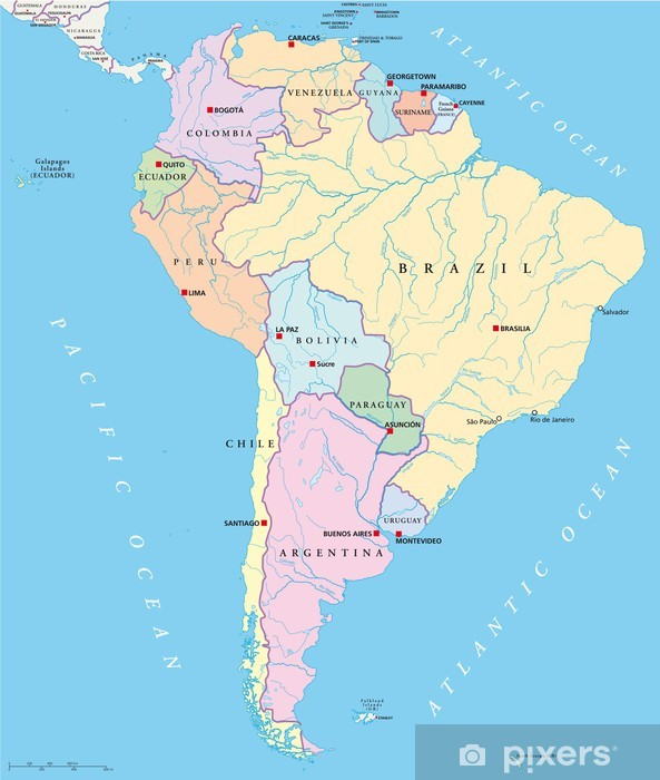 South America Political Map Wall Mural Pixers We Live To Change