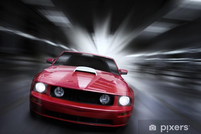 Fototapete Luxus Roten Sportwagen Beschleunigt In Einer Tiefgarage
