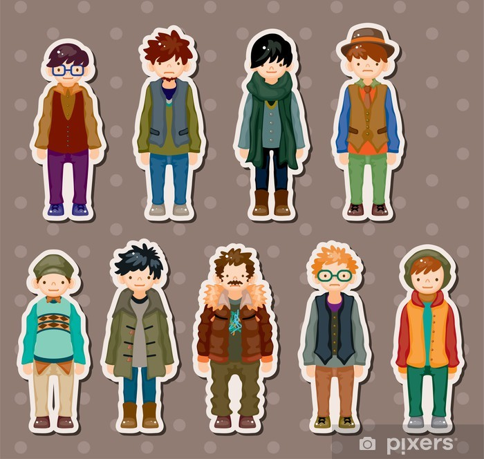 cartoon charming young man stickers Pixerstick Sticker - Signs and Symbols