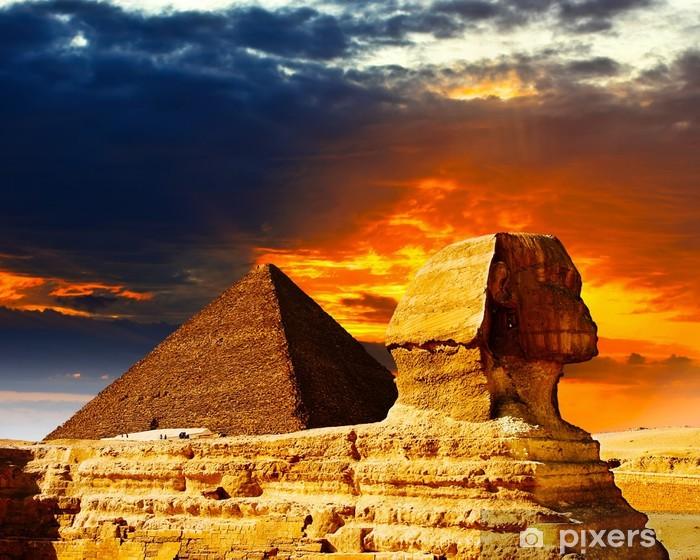 Sticker Pixerstick Grand Sphinx et les Pyramides au coucher du soleil - Thèmes