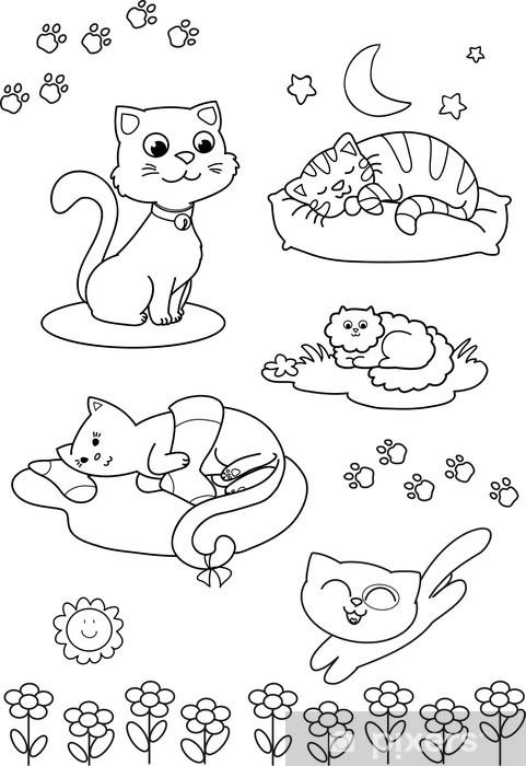 Kleurplaten Leeuwenkop.Fotobehang Vijf Leuke Katten Kleurplaat Voor Kinderen Pixers We
